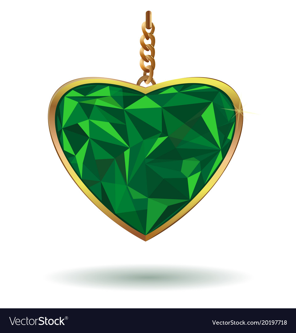 Emerald heart in a gold frame