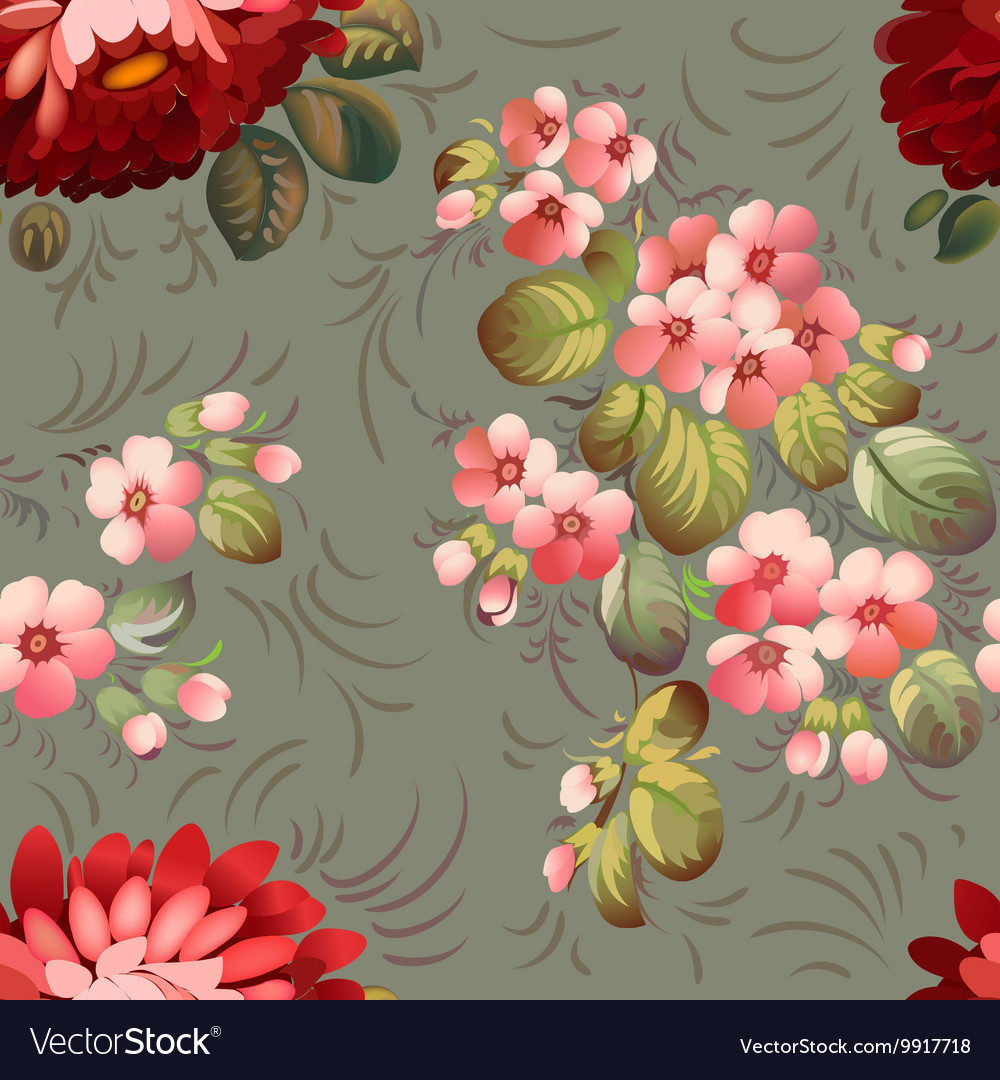 Floral textile seamless pattern in Russian