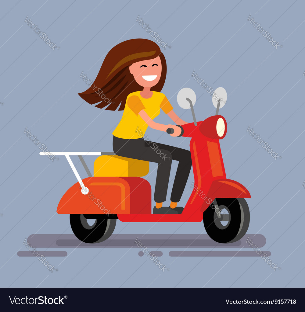 Girl sitting on scooter