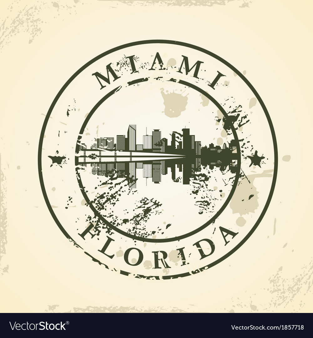 Grunge rubber stamp with miami florida