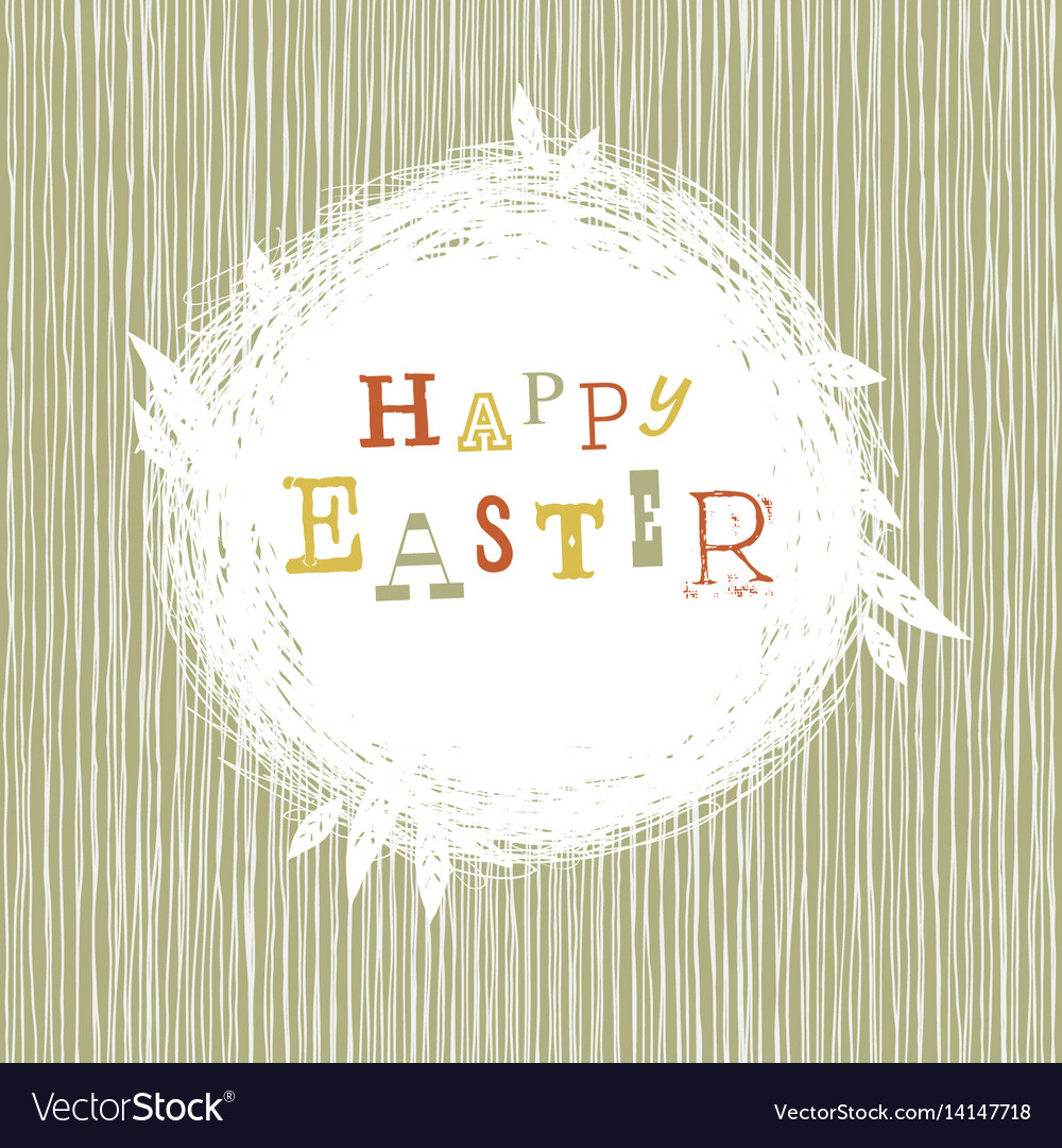 Happy easter postcard with nest symbol