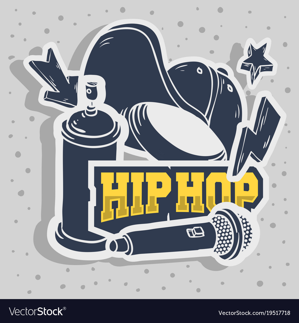 Hip Hop Stickers Design With Baseball Hat Snapback
