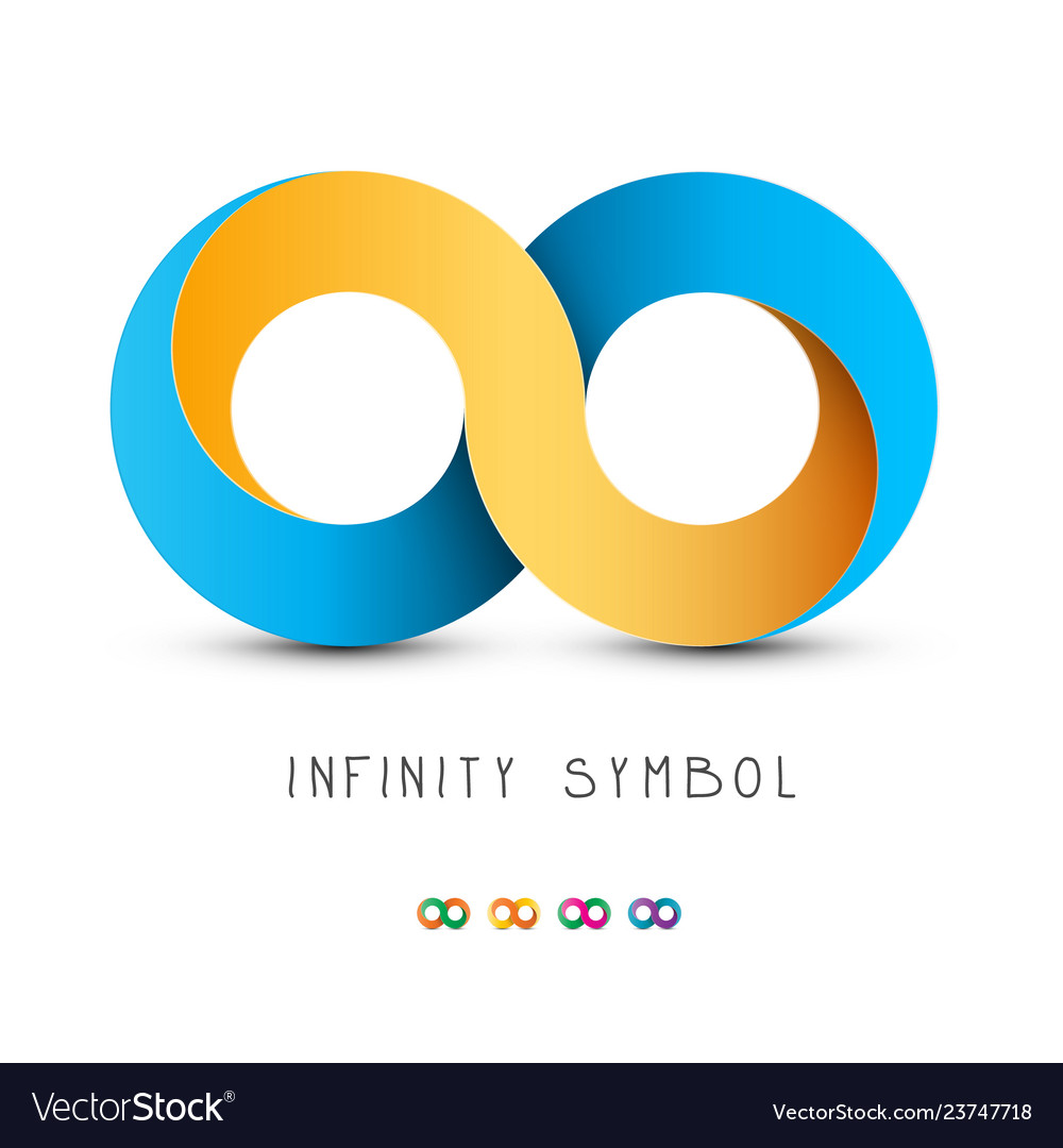 Infinity symbol gold and blue endless icon