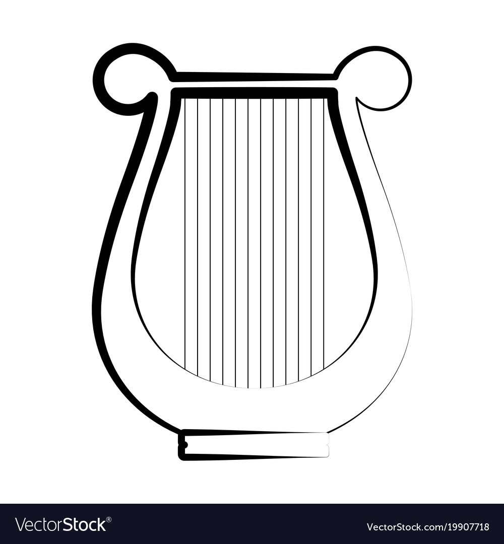 Isolated lyre outline musical instrument vector image