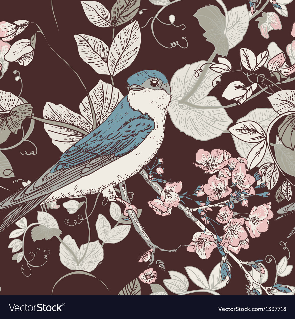 Seamless floral background with bird