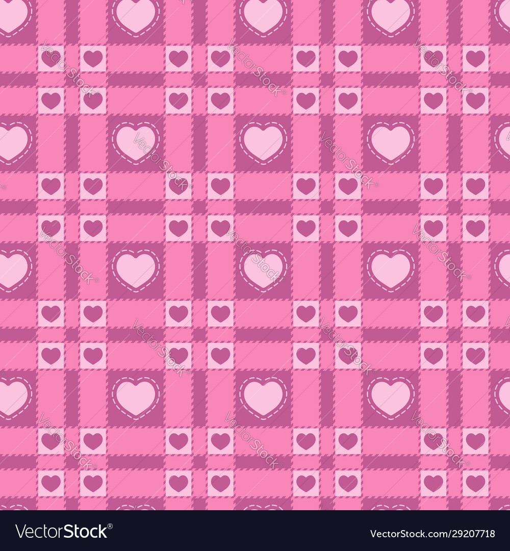 Seamless pattern with a plaid and pink hearts vector