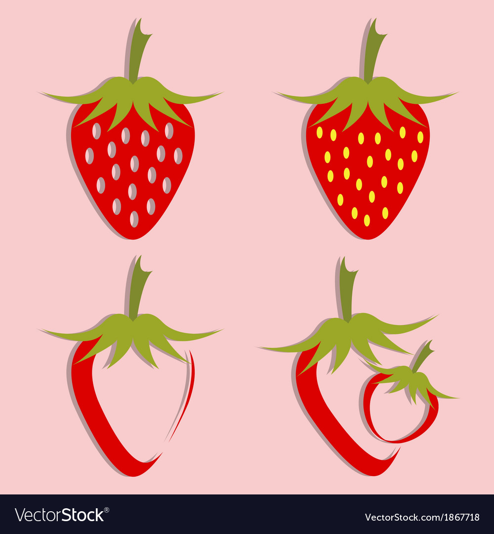 Set of strawberry icon