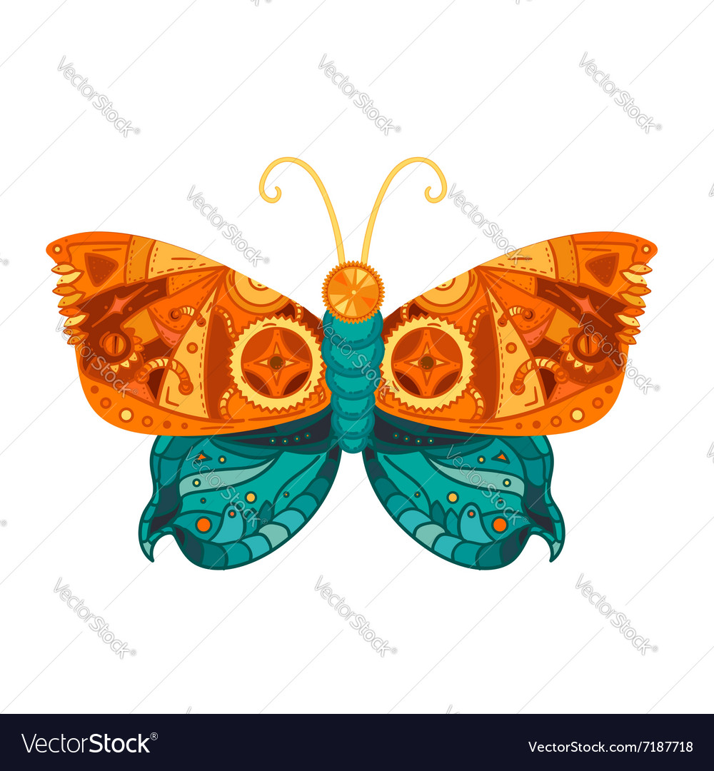 Steampunk butterfly tattoo vector image