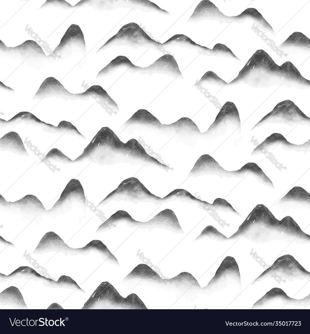 Chinese mountain art abstract seamless pattern
