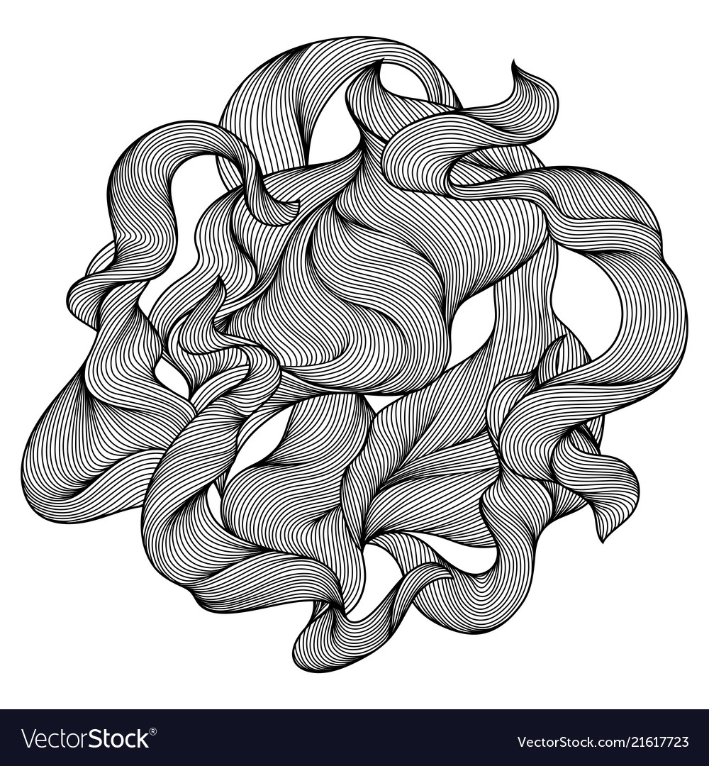 Design with wave line curls
