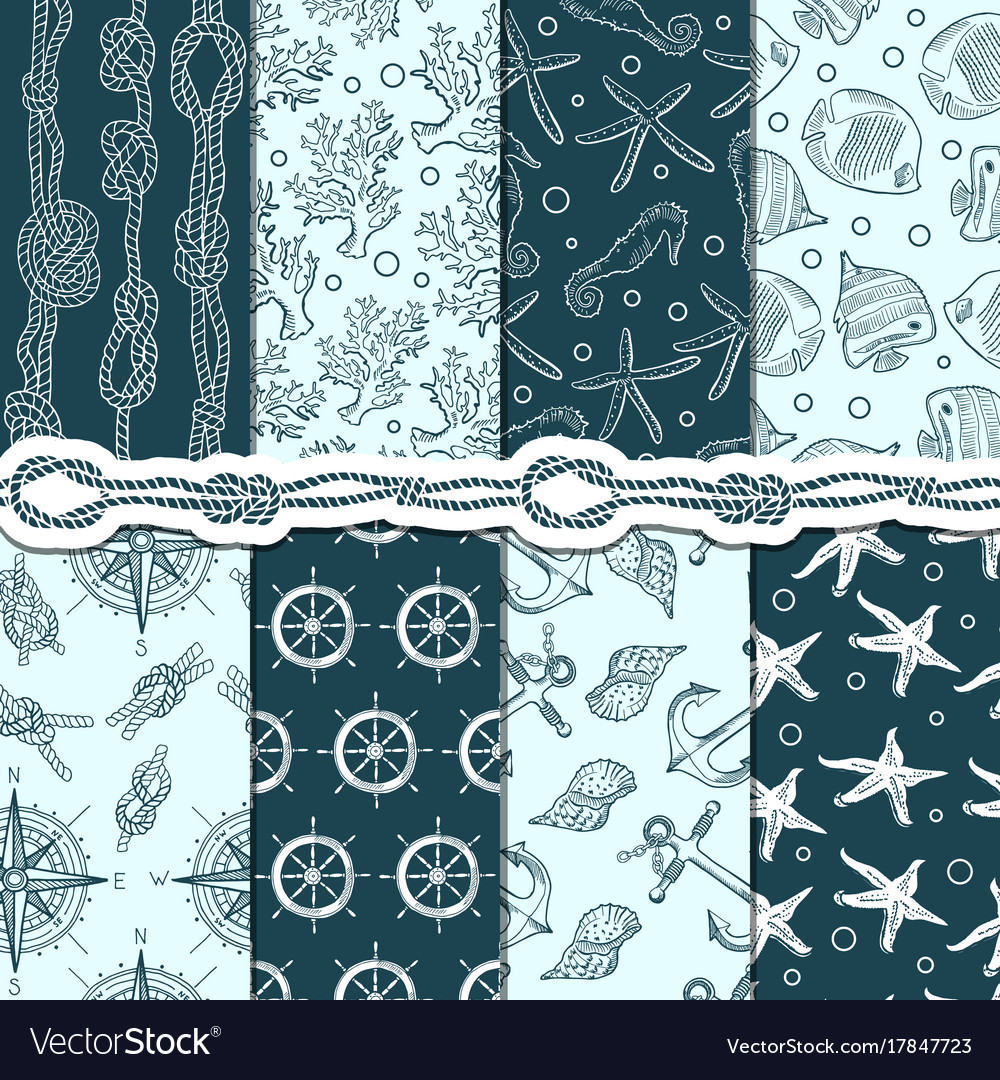 Different seamless patterns set of marine and