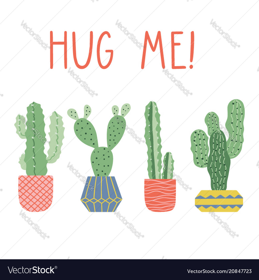 Hand drawn cacti print with funny lettering