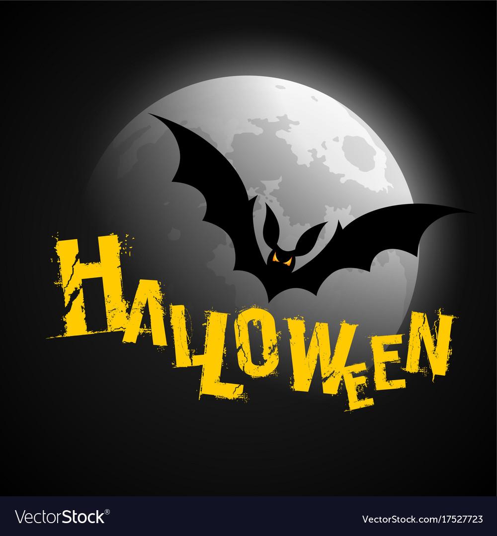 Happy halloween yellow lettering vector image