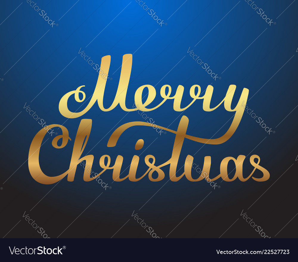 Merry christmas hand made lettering gold texture