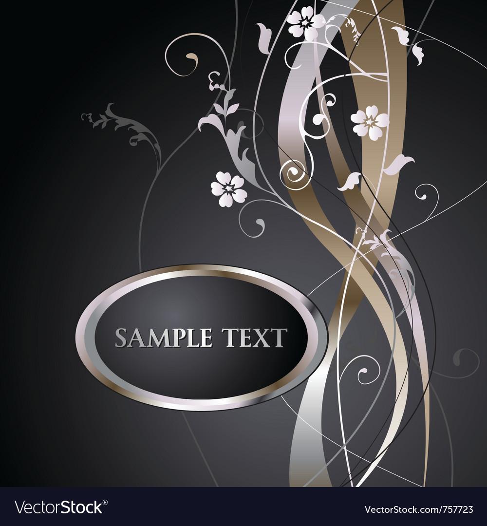 Metallic floral background label vector image