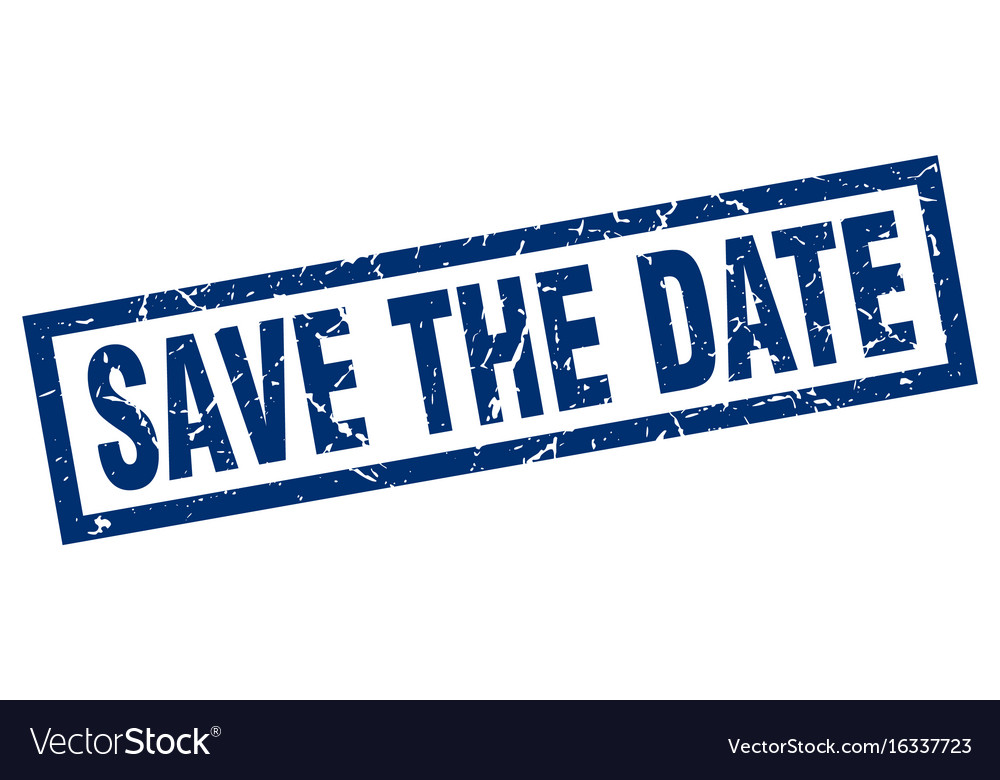 square grunge blue save the date stamp royalty free vector