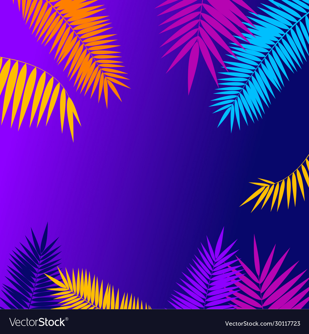 Summer background card with palm branch leaf
