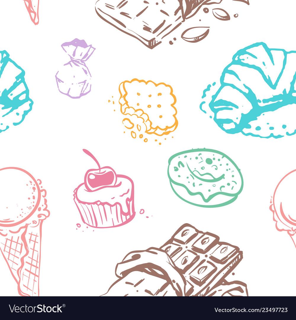 Sweet desserts seamless pattern design
