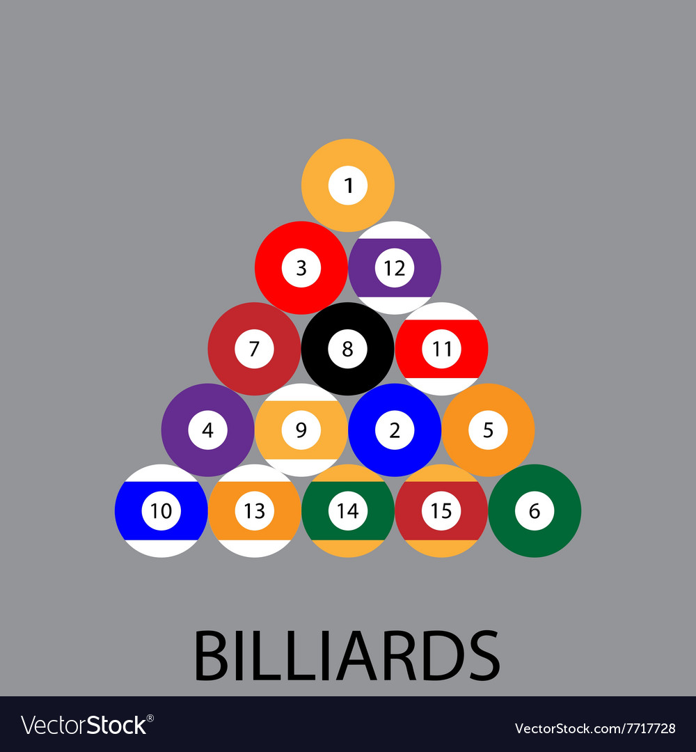 Billiards sport icon flat vector image
