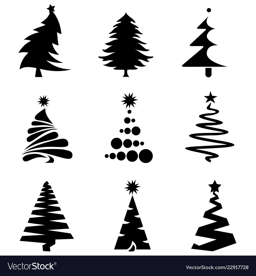 Christmas Tree Icon.Black Christmas Tree Icons