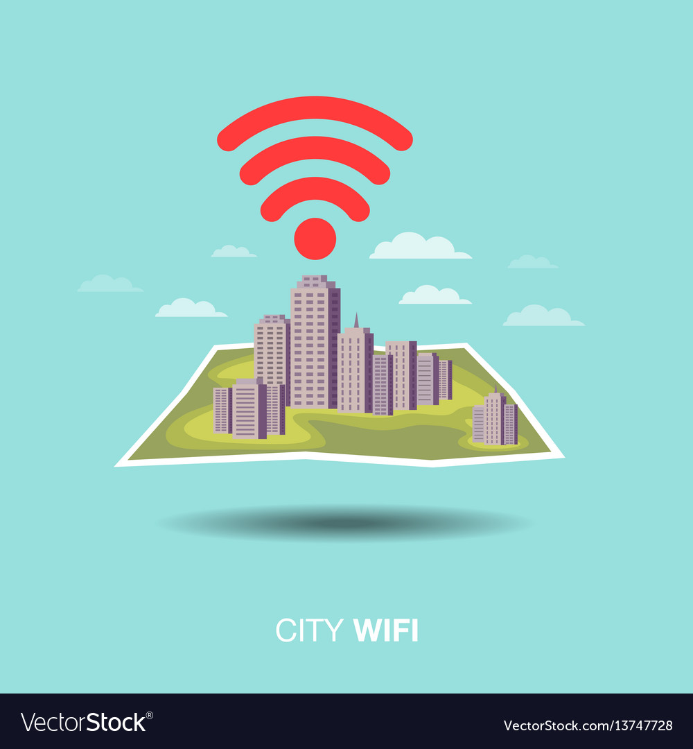 City map wifi flat design icon