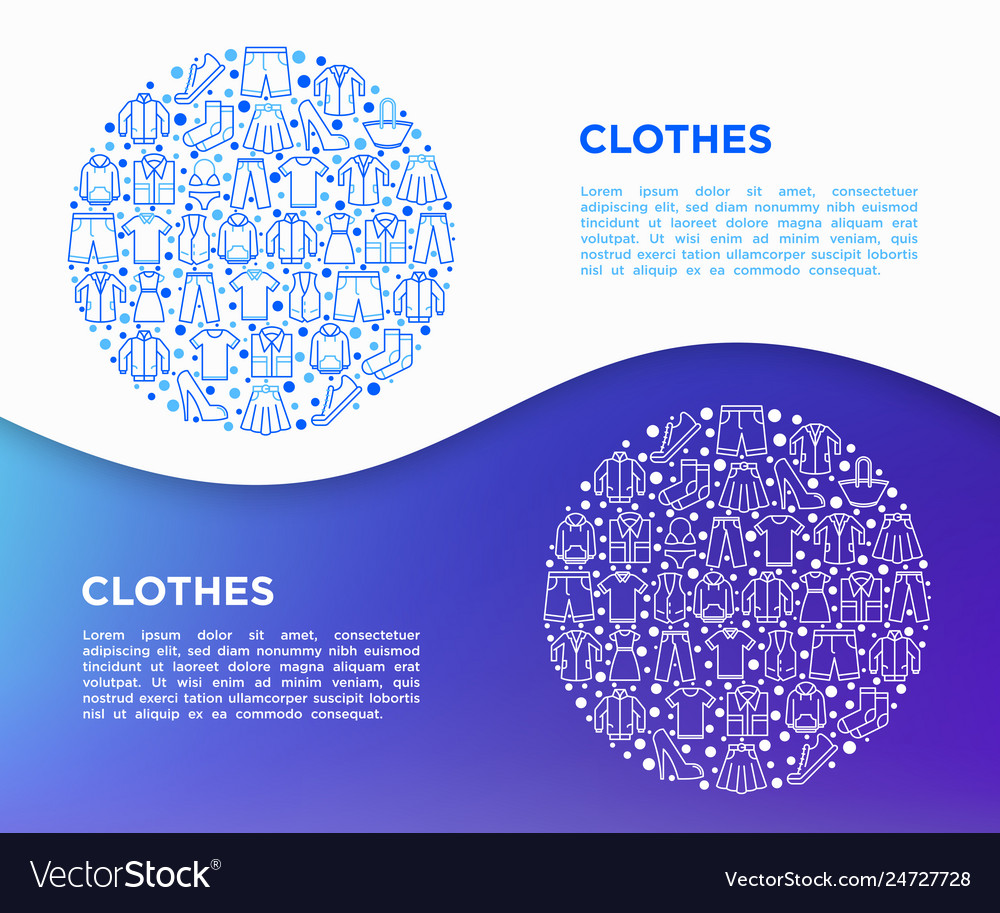 Clothing concept in circle with line icons set