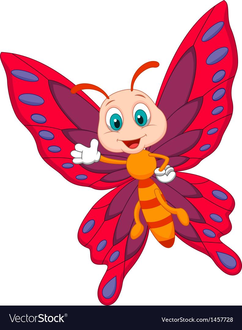 cute butterfly cartoon waving royalty free vector image rh vectorstock com butterfly cartoon pics butterfly cartoon pictures