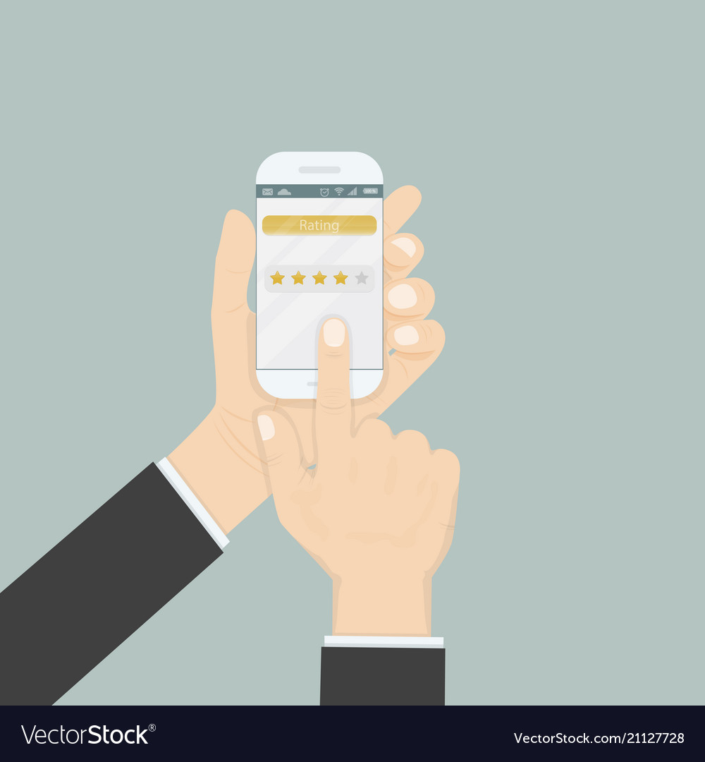 Hand holding smartphone with rating or raking