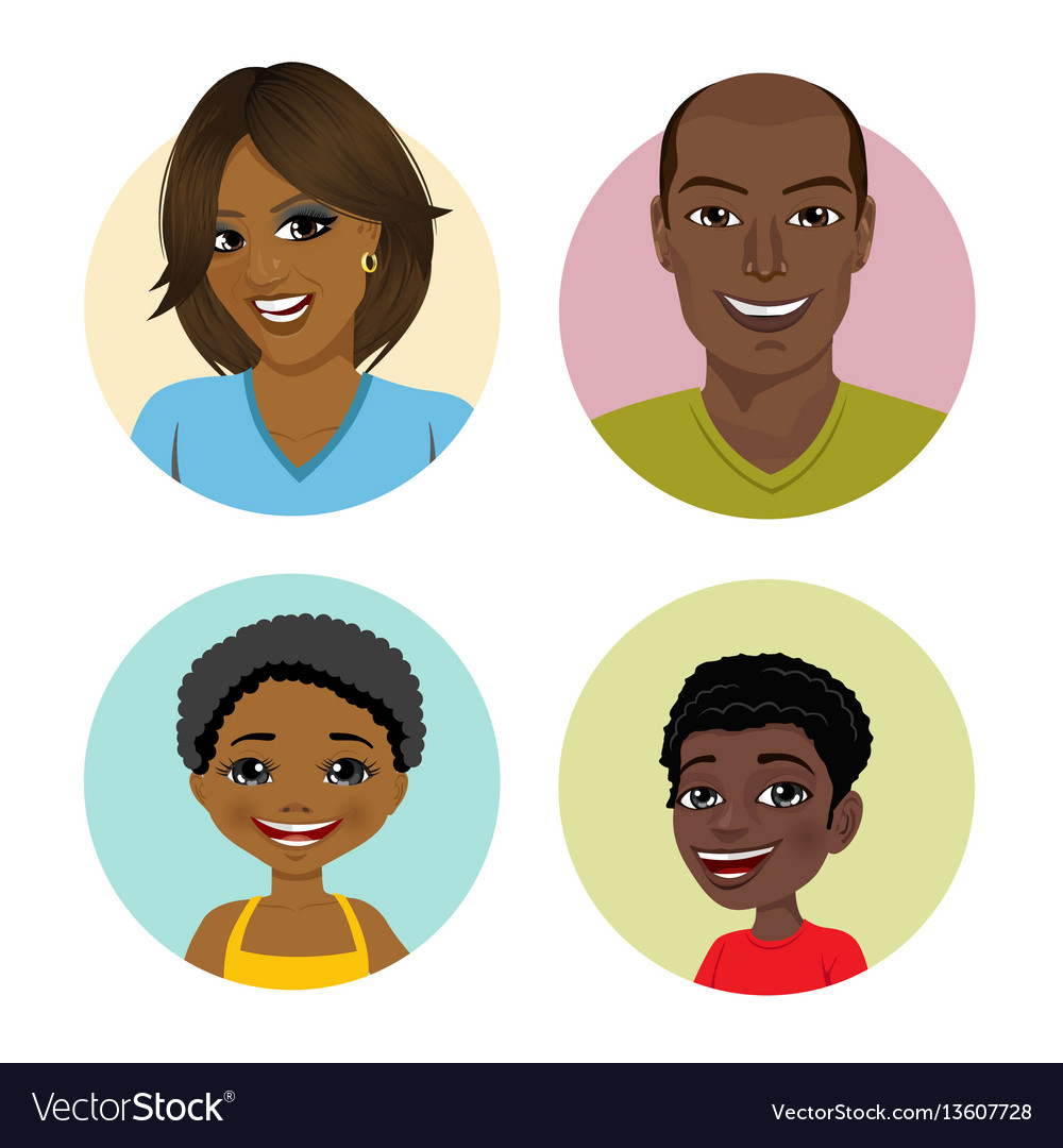 Happy african american family avatars