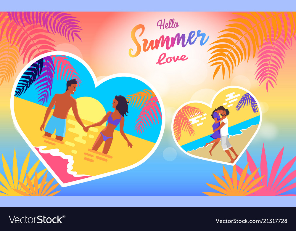 Hello summer love poster of coast and people