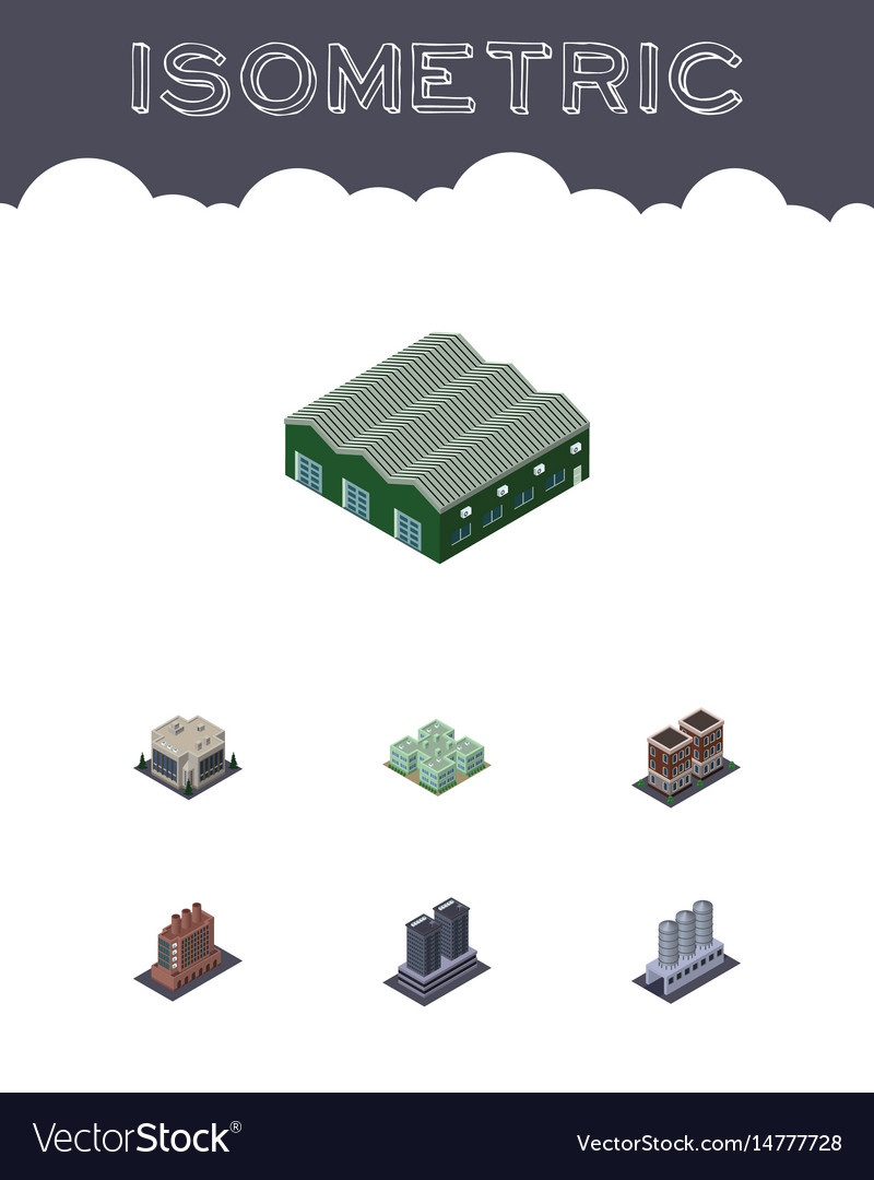 Isometric architecture set of industry clinic