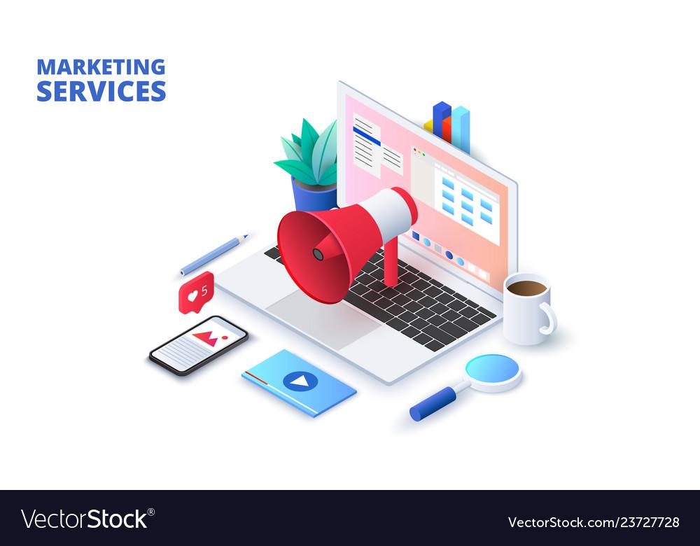 Marketing design concept with laptop loudspeaker