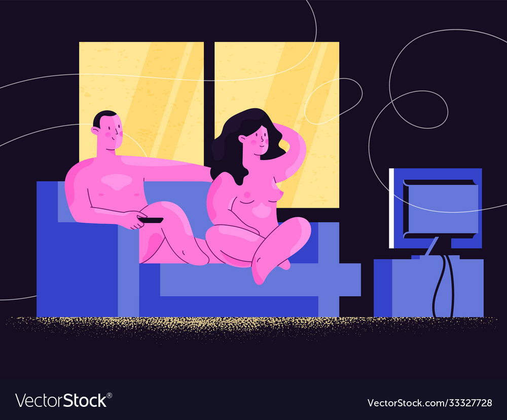 Nude man and woman watching tv shows