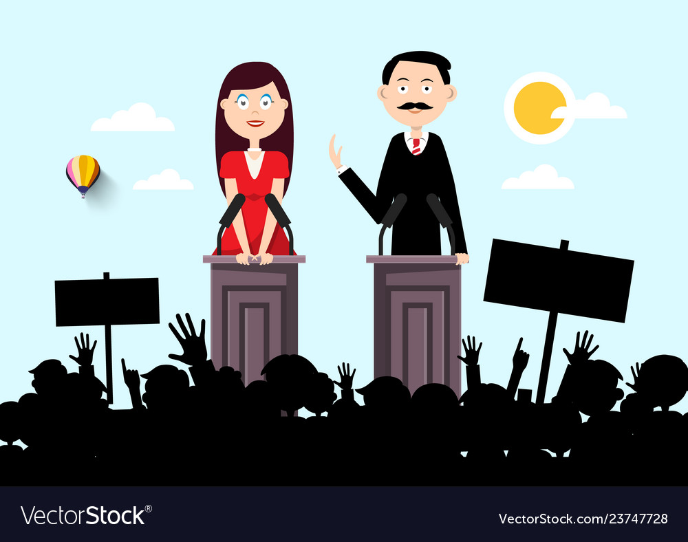 Political outdoor meeting with man and woman