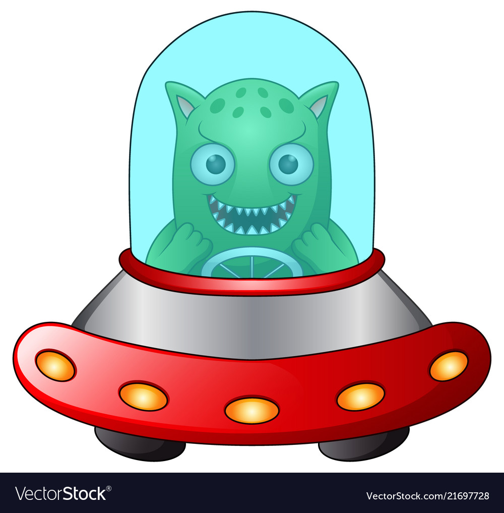 Red ufo with green alien on white background