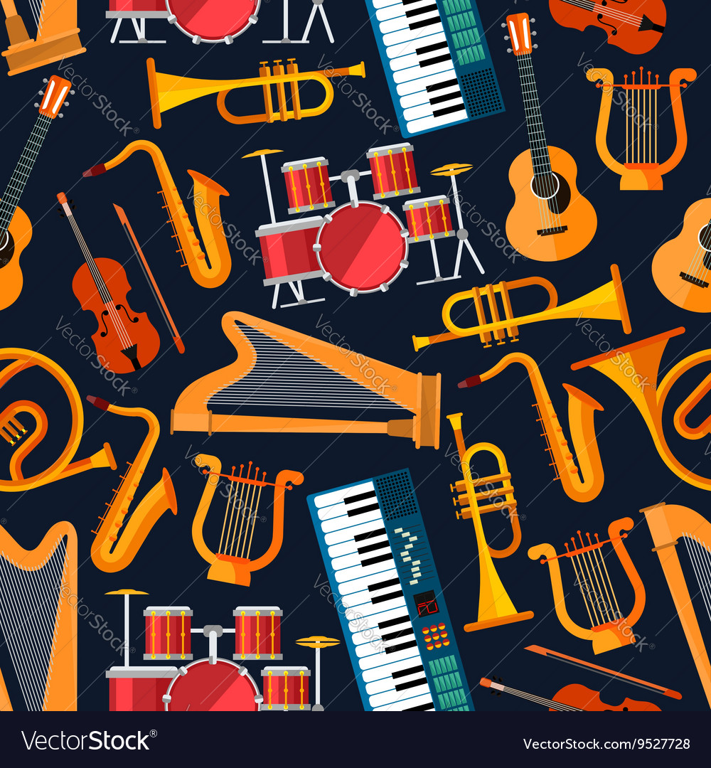 Seamless flat musical instruments pattern