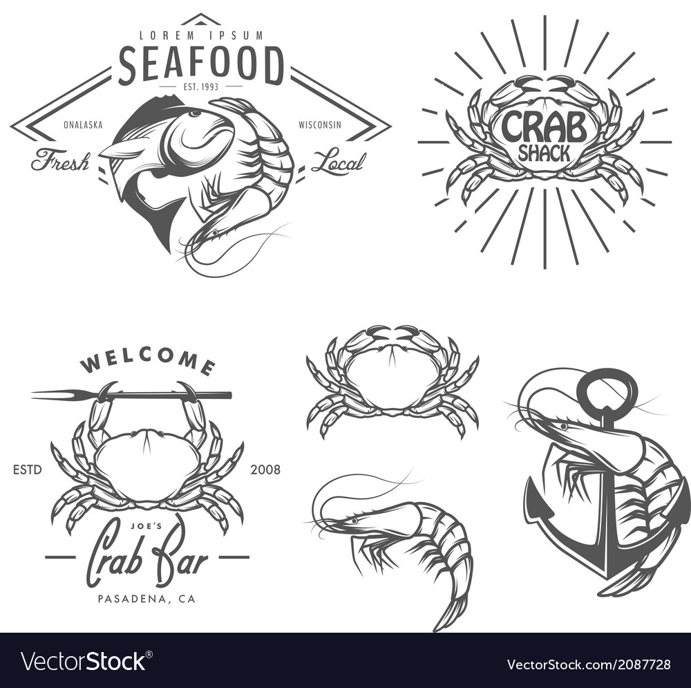 Set of vintage seafood labels and design elements