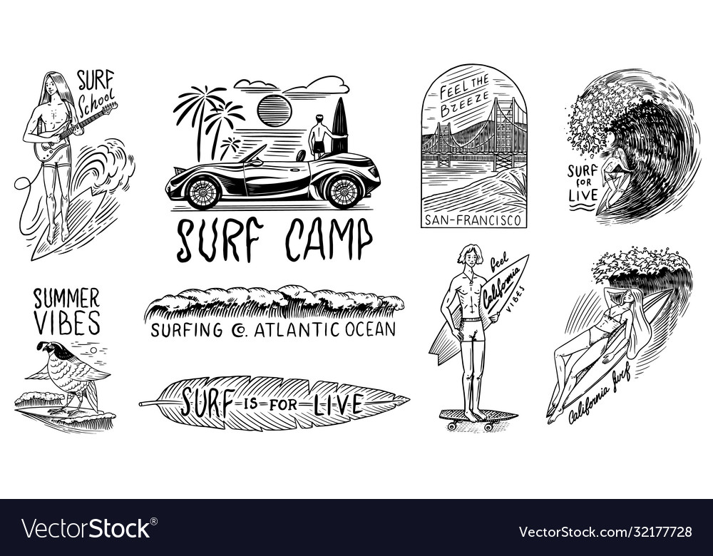 Surf badge vintage surfer logo retro wave and