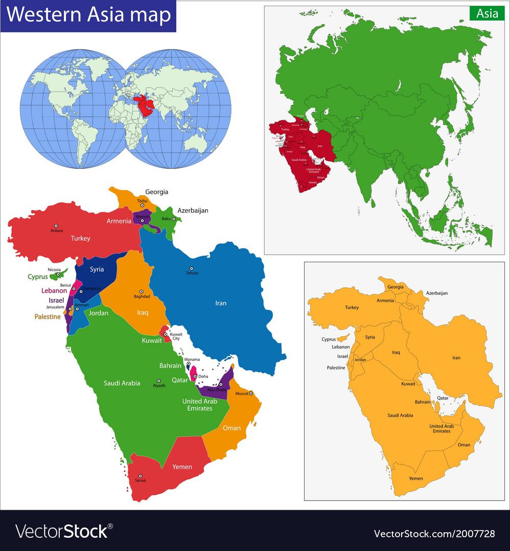 Western Asia map Royalty Free Vector Image - VectorStock