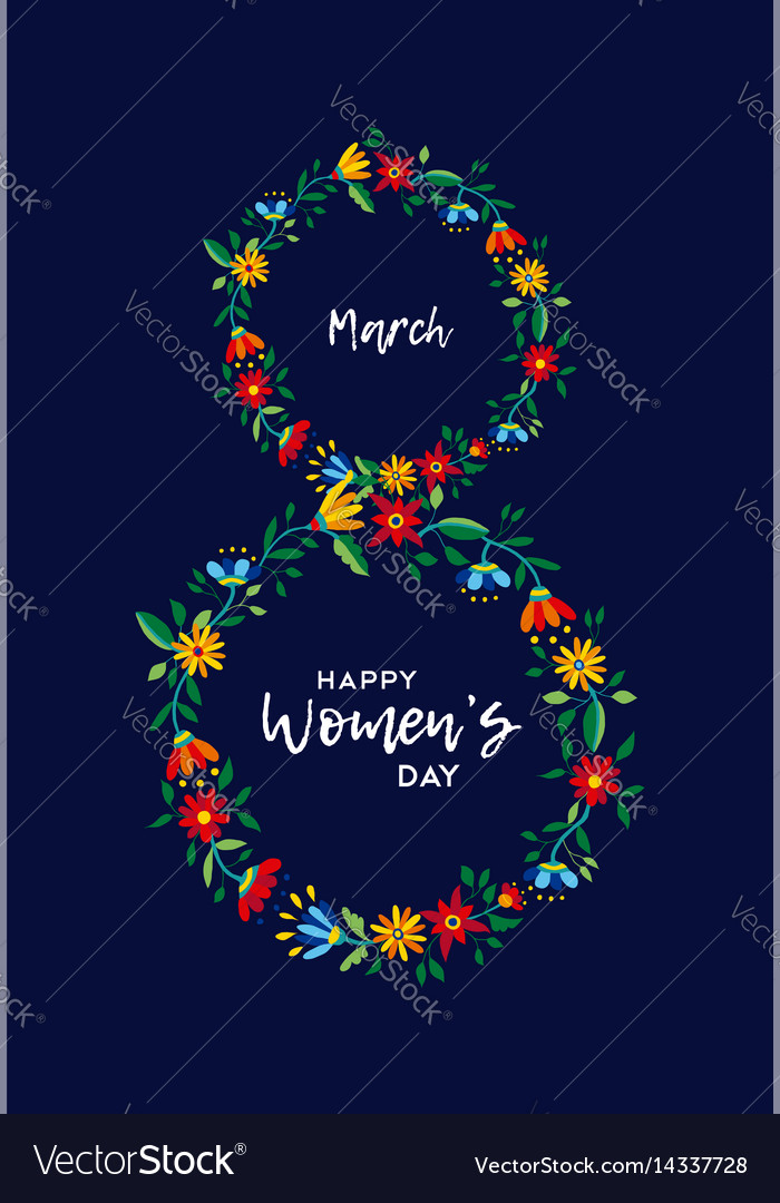 Womens day celebration flower card vector image