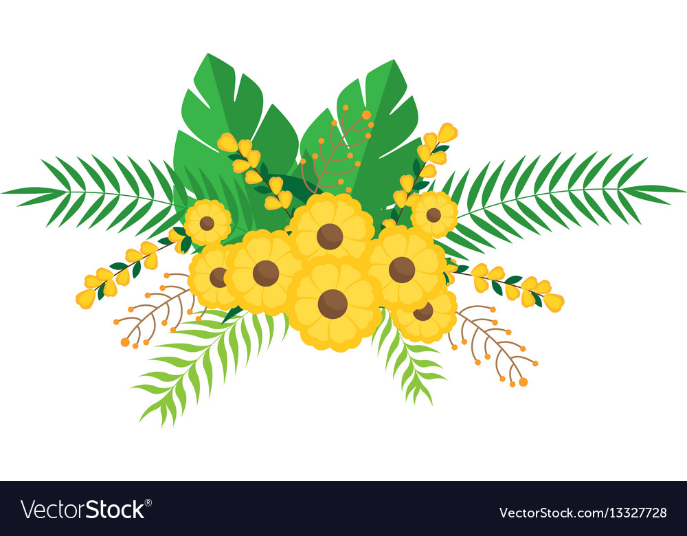 Yellow flowers bunch floral design with leaves vector image mightylinksfo