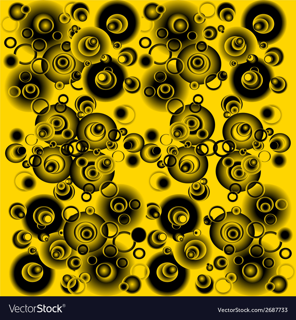 Black and yellow abstract background with circles