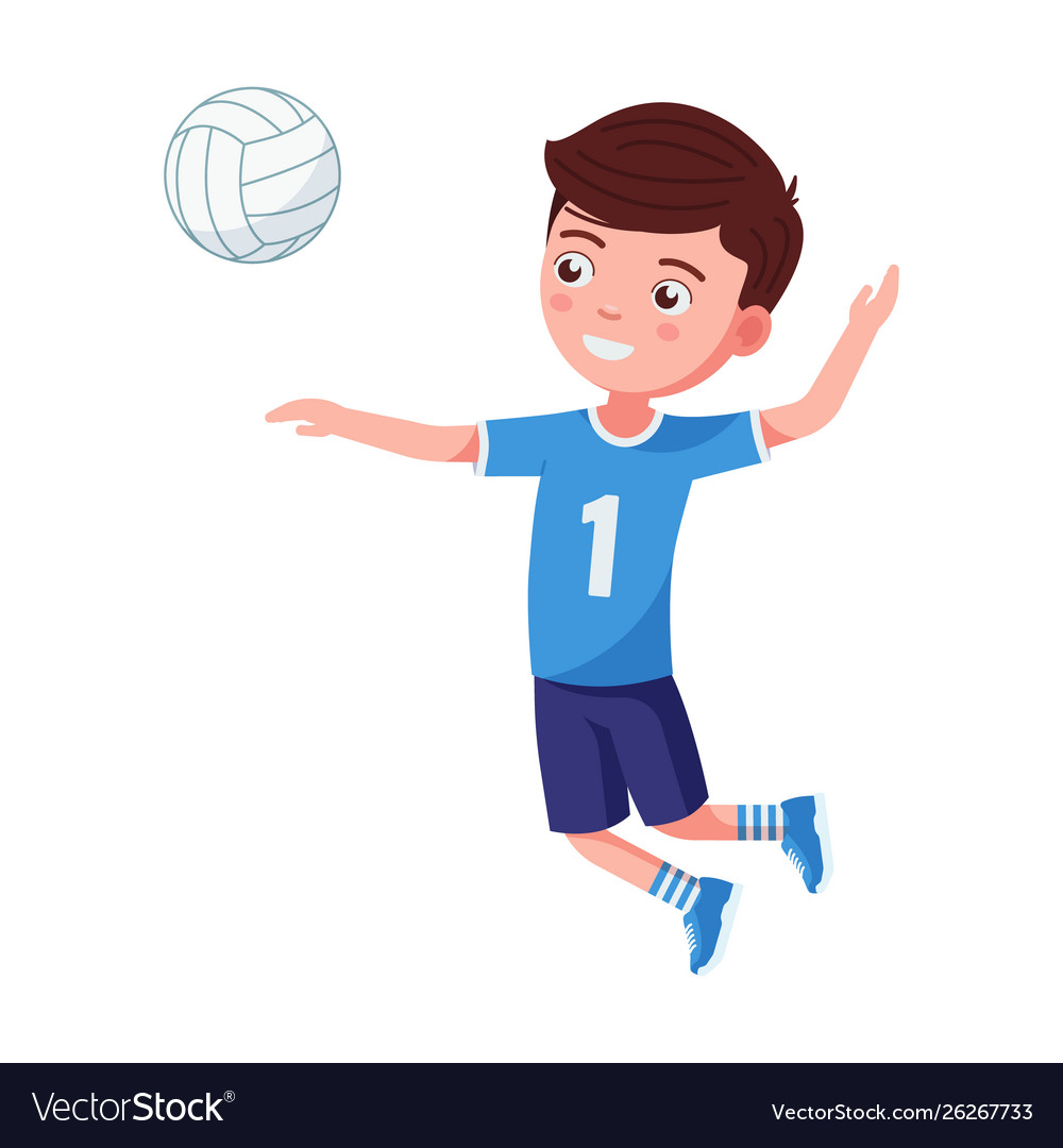 Boy volleyball player hit ball in a jump