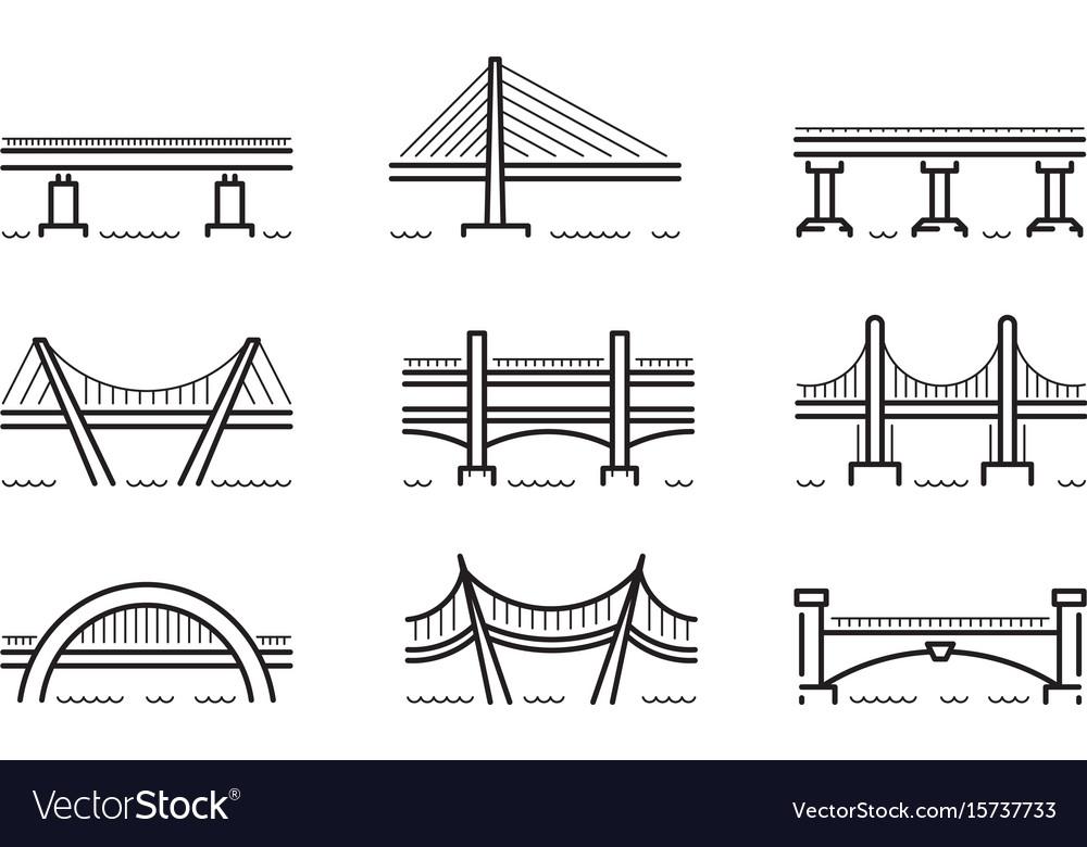 Bridge line icon set vector image