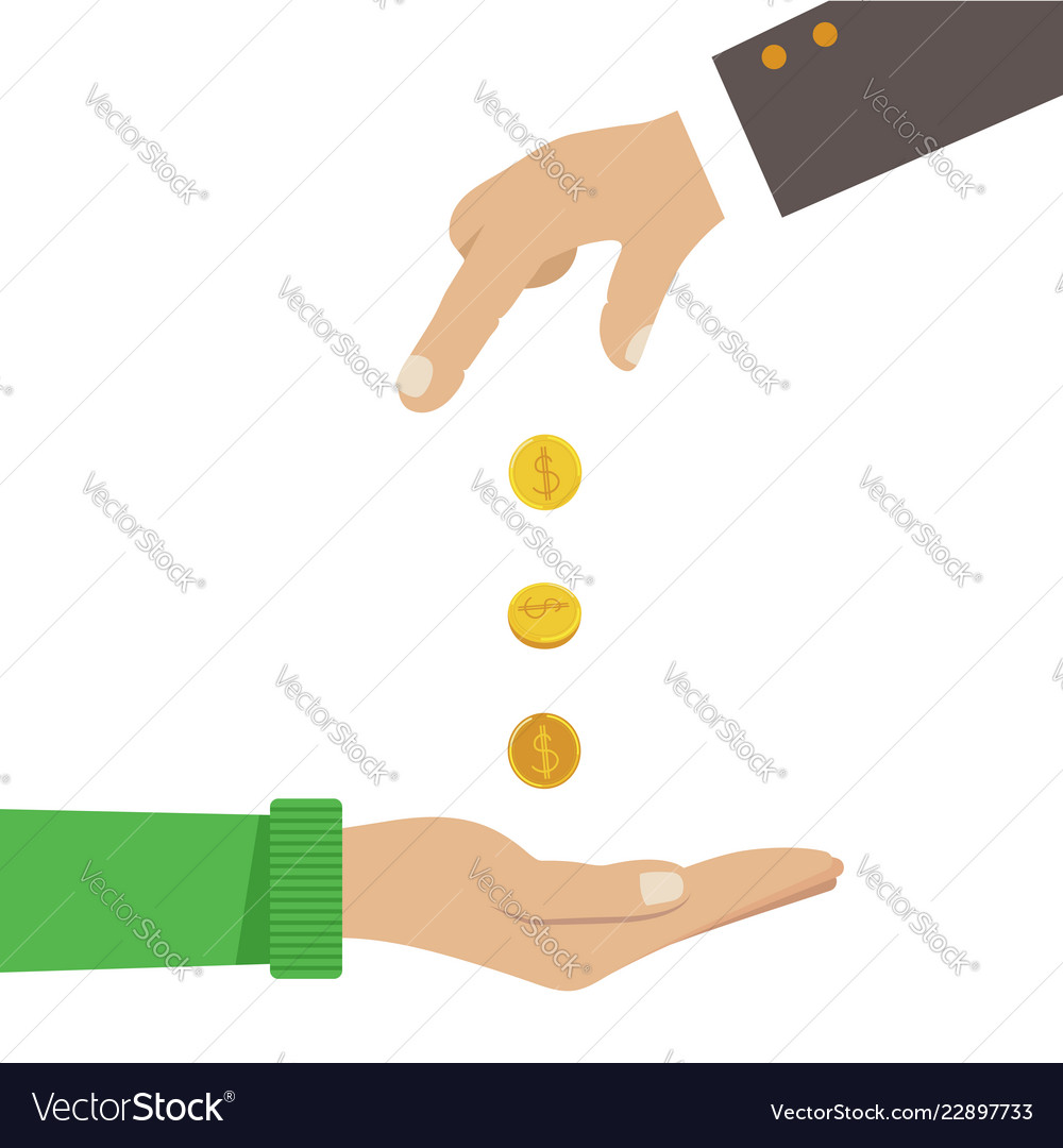 Businessman hands giving money to another hands