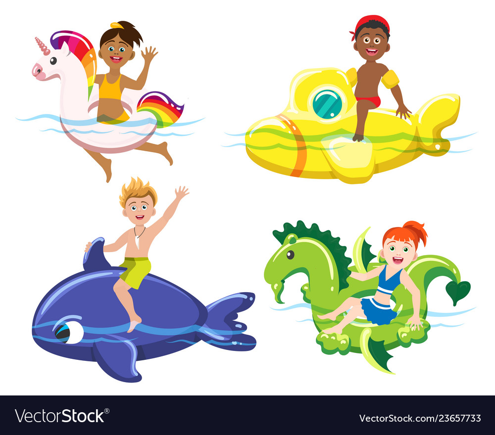 Children and lifebuoys vector