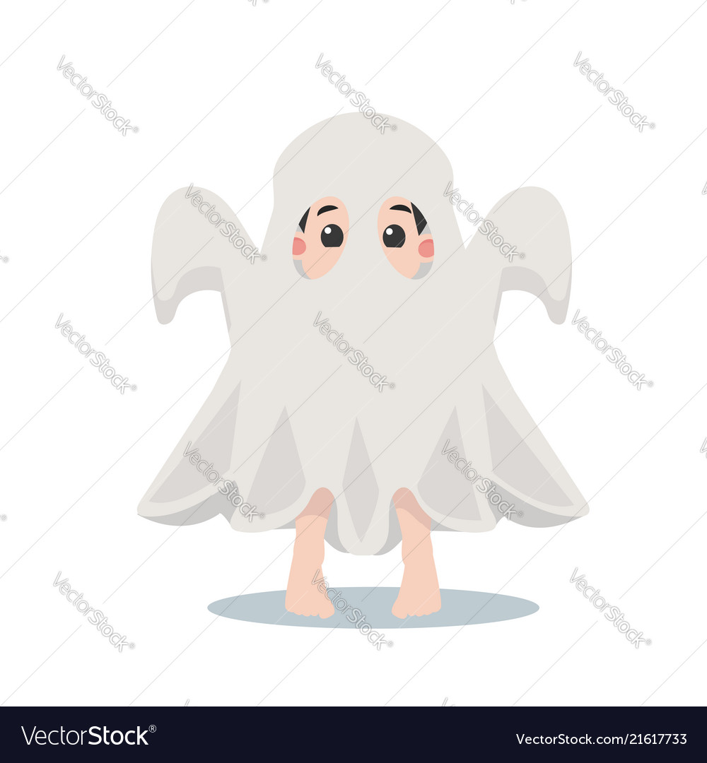 Cute kid halloween character in a ghost costume