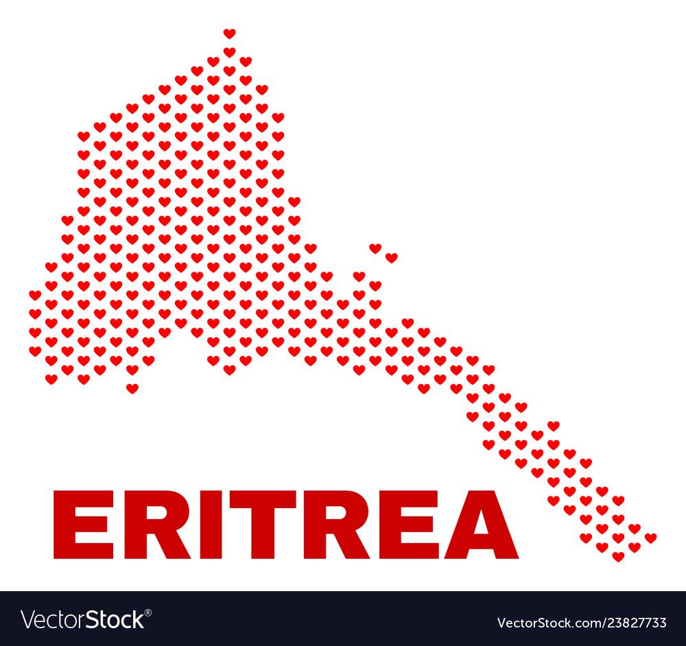 Eritrea map - mosaic of heart hearts