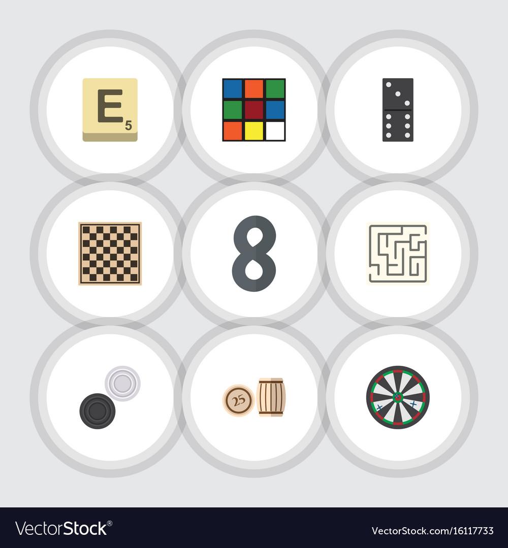 Flat icon entertainment set of bones game arrow vector image