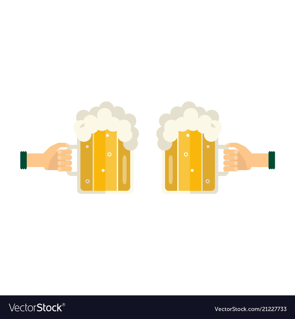 Hands with beer bottle toasting